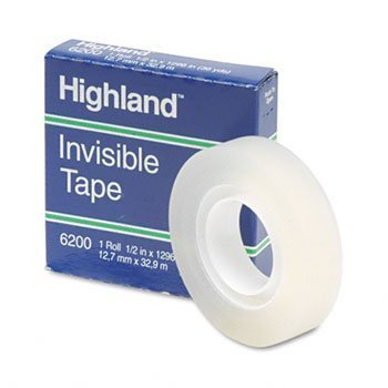 HighlandTM Invisible Permanent Mending Tape TAPE,MENDG,PERM,1/2X1296 (Pack of100) by MMM C