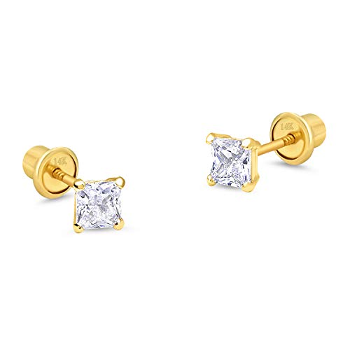 14k Yellow Gold 3mm Birth Month Princess Cut Children Screwback Baby Girls Earrings