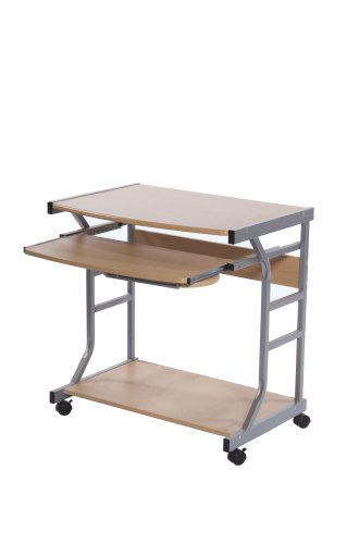 Target Marketing Systems Berkeley Collection Contemporary Computer Desk with Sliding Keyboard Tray, Mouse Tray, Bottom Shelf, and 4 Caster Wheels, Wood/Silver ()