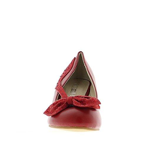 Compensées rouges aspect cuir à talon de 7cm avec noeud et bride strassés