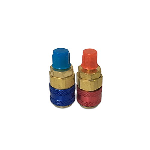 Futurepast A/C High-end Universal R134a High/Low Pressure Side Quick Coupler Brass Connector Adapter Quick Coupler Set Manifold Conversion Kit