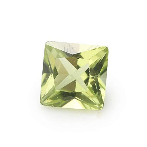 Calvas 30PCS Size 2x2~8x8mm Olive Loose Gems Stone Wholesale Natural mechine Cut Square Loose Natural Peridot - (Item Diameter: 6x6mm 30pcs)