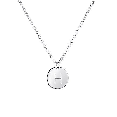 Necklace Initial Charm Disc (MignonandMignon Silver Initial Necklace Initial Disc Necklace Bridesmaid Jewelry Gift for Her (H) - CN)
