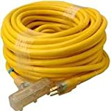 Coleman Cable 4389 10/3 SJTW Tri-Source Extension Cord with Lighted End, Yellow, 100-Foot