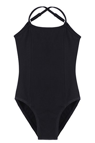 Zaclotre Girls' Camisole Leotard Ballet Dance with Adjustable Strap, Black 140