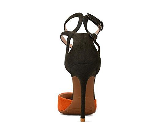 ZPL Mujer Estilete Alto Tacón Puntiagudo Zapatillas Señoras Tobillo Doble Correa Sandalias Fiesta Corte Zapatos orange