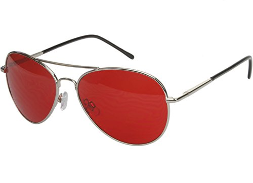G&G Rock Star Premium 70s Retro Red Lens Aviator Sunglasses - Red Star Sunglasses
