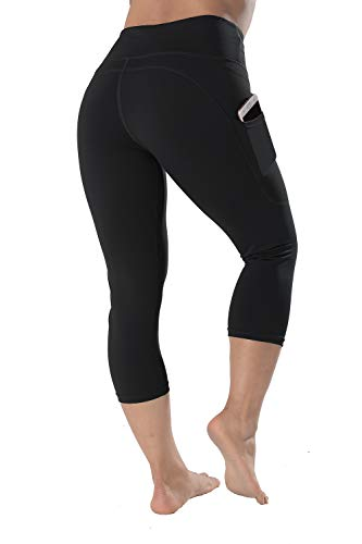 High Waisted Leggings with Pockets - Workout Leggings for Women Stretch Power Flex Yoga Pants - Plus Size, Full Length (Large, Black-Capri)