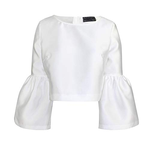 Blaque Label Womens Long Ruffle Sleeve Top White Medium