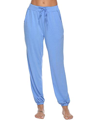 Abollria Women's Cotton Pajama Pants Stretch Knit Lounge Pants with Pockets Blue XXL