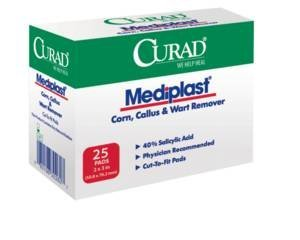 Curad Mediplast Corn, Callus and Wart Remover Pads, 2''X3'' - 25 ct (PACK OF 3)