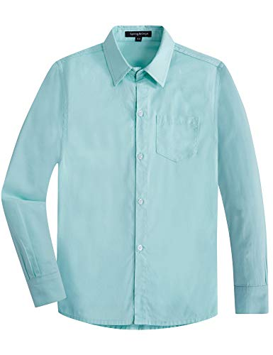 Spring&Gege Boys' Long Sleeve Solid Formal Cotton Twill Dress Shirts Aqua 9-10 Years