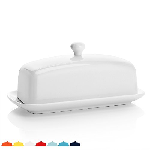 Sweese 3156 Porcelain Butter Dish with Lid, Perfect for East/West Butter, White