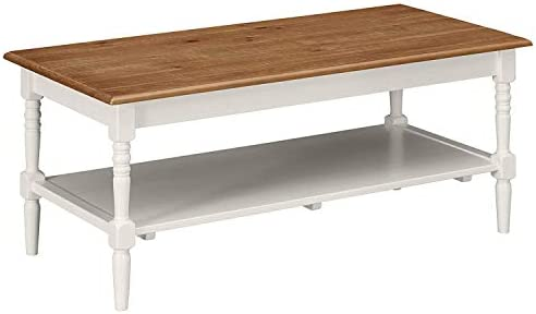 MUSEHOMEINC Washington Farmhouse Rustic Wooden Rectangle Coffee Table with Shelf for Living Room Mid-Century Modern Style, White Finish