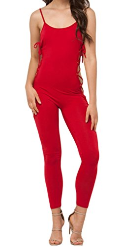 Christmas DH-MS Dress Women's Reveal Assets Lace-up Jumpsuit Red