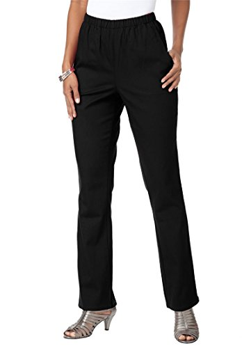 Roamans Women's Plus Size Petite Relaxed 2 Pocket Bootcut Stretch Legging