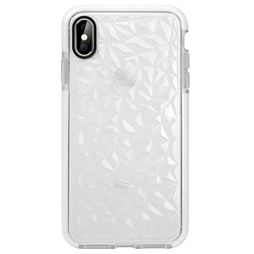 iPhone Xs Max Case,WATACHE 3D Diamond Geometric Pattern Clear Crystal Slim Fit Soft Rubber Protective Shockproof Case for iPhone Xs Max-White