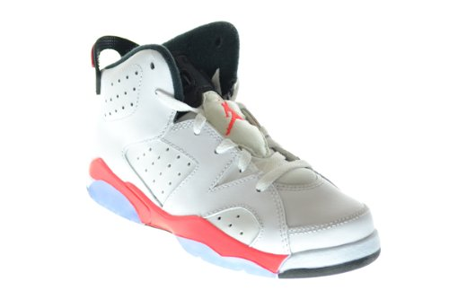588168ef32b Amazon.com | Jordan Air 6 Retro (BP) Little Kids Basketball Shoes White/ Infrared-Black 384666-123 (12 M US) | Basketball