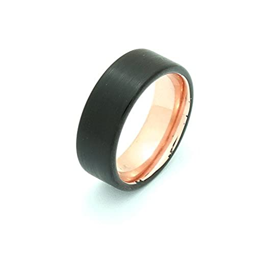 Brushed Black and Rose Gold Tone Tungsten 8MM Mens Women Wedding Band Metal Ring - Pipe Cut Edge