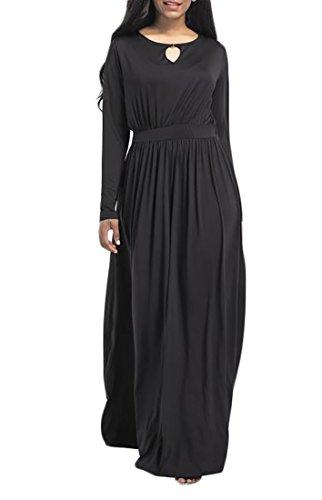 Cruiize À Manches Longues Ras Du Cou Des Femmes Découpées De Taille Plus Maxi Robe Noire Plissée Grande