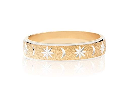 MiaBella 925 Sterling Silver Italian Moon and Star Eternity Band Ring Jewelry for Women Men Choice of White or 18K Yellow Gold Over Silver (Two-Tone, 7) (Star Italian)
