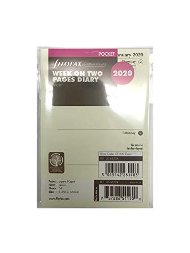 filoFax 68224-OS-2020 Refill for Year 2020 Pocket Week On Two Pages Diary in Cotton Cream