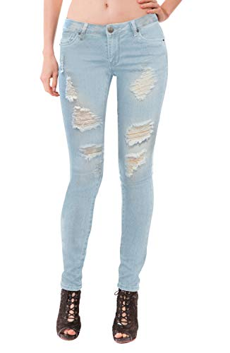Women's Super Comfy Stretch Lace Bottom Skinny Jeans P37352SK Light WASH 13