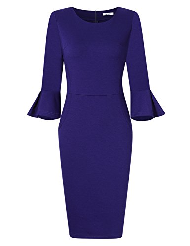 GlorySunshine Women 3/4 Flare Bell Sleeves Work Bodycon Pencil Dress Vintage Cocktail Party Dresses Royal L