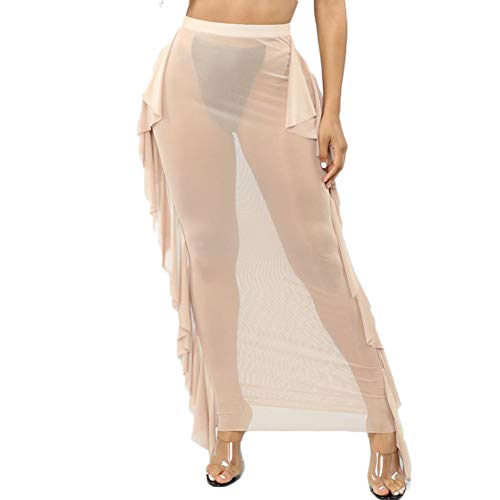 Women See Throug Mesh Flare Cover up Pants Swimsuit Bikini Bottom Cover up Elastic Waist Wide Leg Palazzo Trousers (XL, Apricot/Mesh Ruffle Skirt) ()