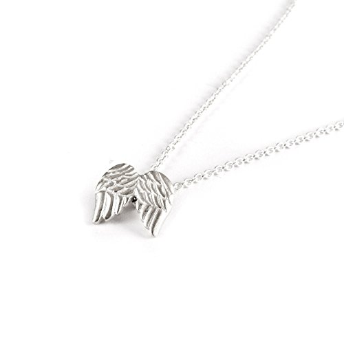 DIANE LO'REN 18kt White Gold Plated Inspirational Card Pendant Necklace Charms (Guardian Angel) (Guardian Angel Charms For Men)