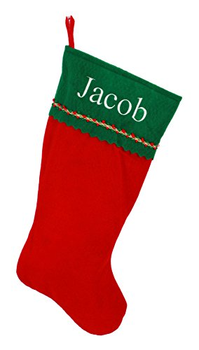 Personalized Christmas Stocking, Red and Green Felt -