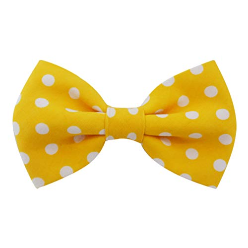 THE DOK Yellow Polka Dot - Dog Cat Pet Bow Tie Bowtie Collar Accessory 4 inch ()