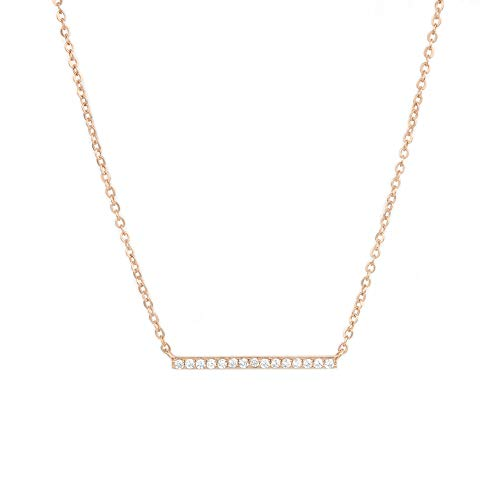 Jeanne's Jewels Womens 925 Sterling Silver Aubrey Bar Charm Necklace, Adjustable Size, Stackable (Rose Gold)