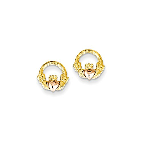 14K Two-Tone Gold Claddagh Stud Post Earrings