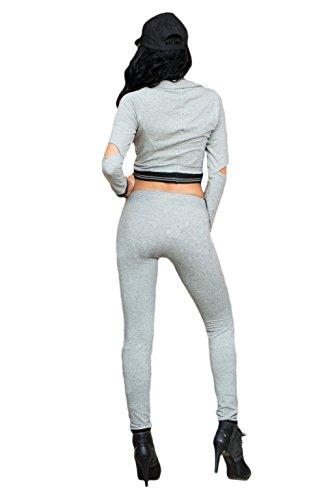 Gris Découpe Believe Crop top Pantalon Ensemble pantalon Combinaison Club Wear décontracté Vêtements Leggings fête Porter Taille S UK 8–10EU 36–38