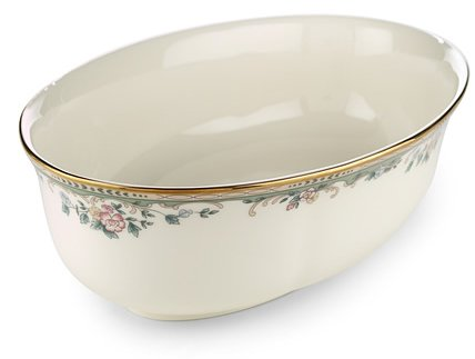 Lenox Spring Vista Gold Banded Ivory China Open Vegetable - Banded Bowl China Serving Ivory