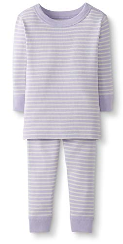 Moon and Back by Hanna Andersson Baby/Toddler 2-Piece Organic Cotton Long Sleeve Stripe Pajama Set, Purple Stripe, 12-18 - Onesie Cotton Classic