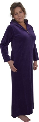 Zip Up Hooded Velour Kaftan Robe