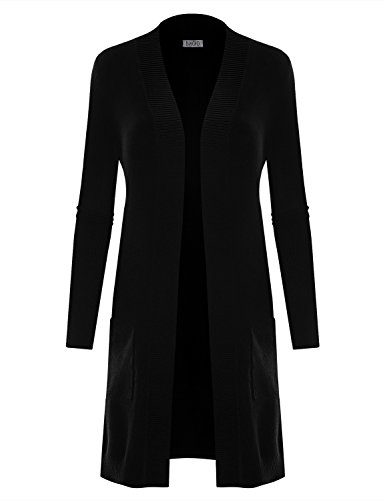 V-neck Duster (B.I.L.Y BILY Women's V-Neck Long Duster Cardigan Cardigan Sweater Black Large)