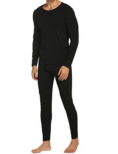 Ekouaer Men's Ultra Soft Thermal Underwear Long Johns Set with no Fleece Lined