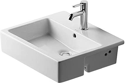 Vero Semi Recessed Bathroom Sink Faucet Drillings: Single Hole ... Semi Recessed Bathroom Sink on non recessed bathroom sinks, vessel sinks, semi recessed basins, wall recessed sinks, semi recessed kitchen lighting, semi recessed stainless steel, semi recessed shower, rounded exposed front sinks, semi recessed tubs, semi recessed medicine cabinets,