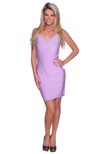 Beautifly Women's Lavender Lux Bandage Cocktail Dress