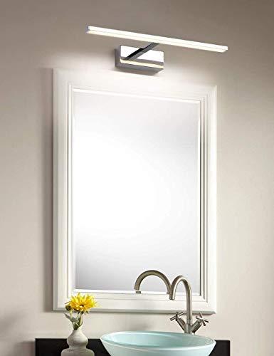 LED-Spiegelleuchte Badezimmer 8W 560LM 40cm 230V 4000K, ECOBRT wasserdichte IP44 Badezimmerspiegellampe, keine flackernde Badleuchte Wandbeleuchtung Neutralweiß Chrom Spiegellampe