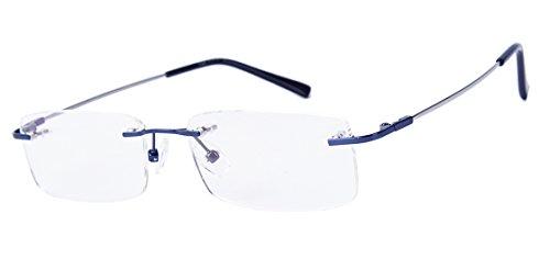e3ebd583253 9 · Agstum Titanium Alloy Flexible Rimless Frame Prescription Eyeglasses  (Blue)