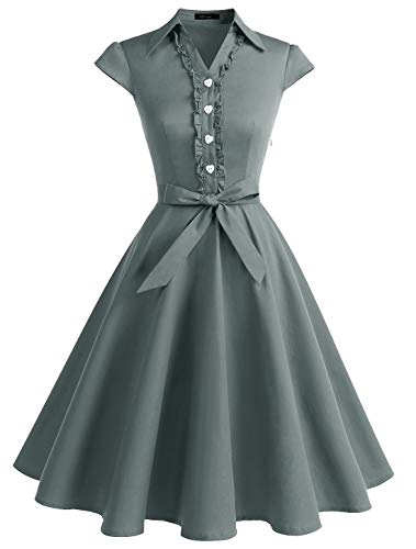 - Wedtrend Women's 1950s Retro Rockabilly Dress Cap Sleeve Vintage Swing DressWTP10007GreyXL