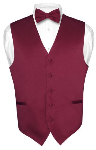 Burgundy Vest Set - Men's Dress Vest & BowTie Solid BURGUNDY Color Bow Tie Set size Small