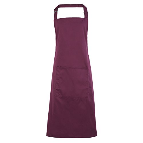 Premier Ladies/Womens Colours Bip Apron With Pocket / Workwear (One Size) (Aubergine)