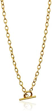 Gold Chain Necklace | Real Gold Dipped Toggle Clasp Necklace | Versatile Wrap Necklace, Y Necklace | Front Fas