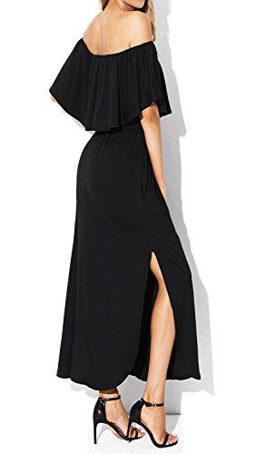 I2CRAZY Women Off The Shoulder Ruffle Pockets Side Split Beach Maxi Dresses(Size-S,Black) by I2CRAZY (Image #3)