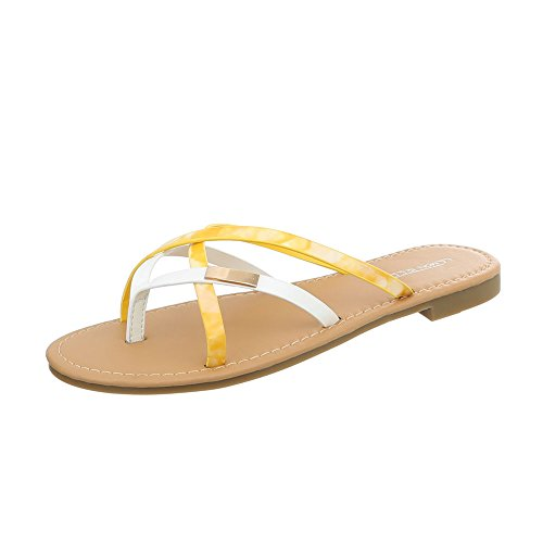Ital-Design Women's Sandals Flat Thong Sandals Yellow White Pm907-12